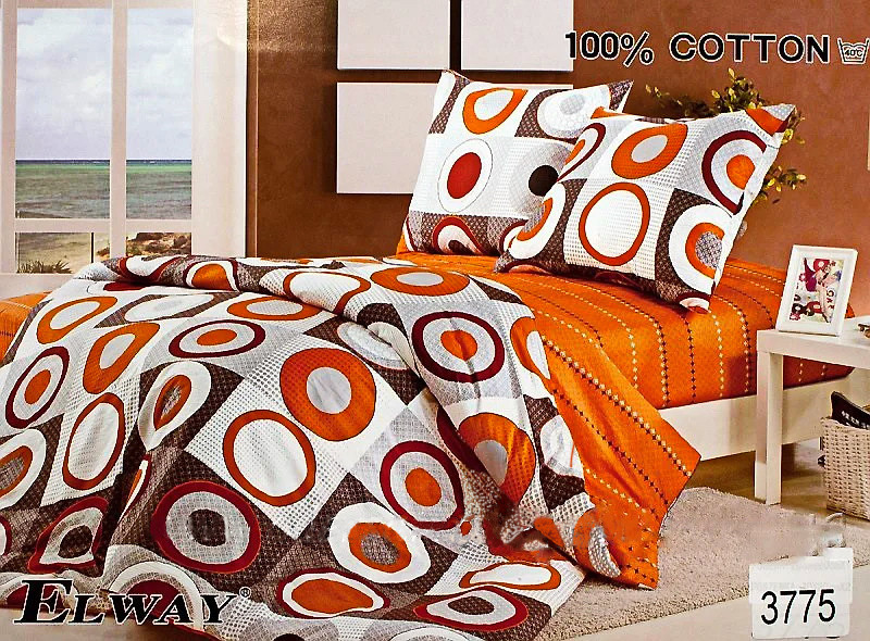 Комплект постельного белья ELWAY (Польша) Сатин евро (3775)