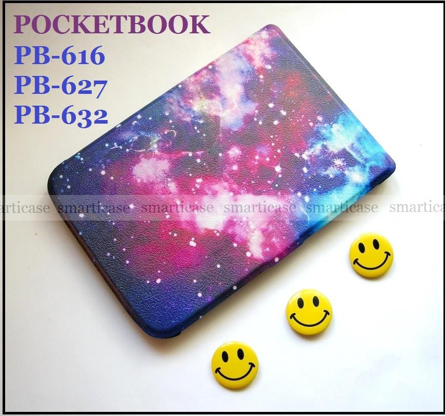 Разноцветный чехол обложка для Pocketbook 616, 627, 632 с рисунком Галактика (Космос)