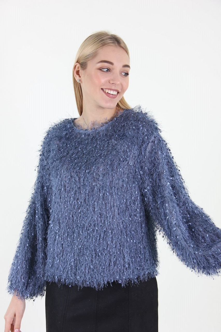 Кофта женская Fashion Girl 808 травка (Синий S/M)