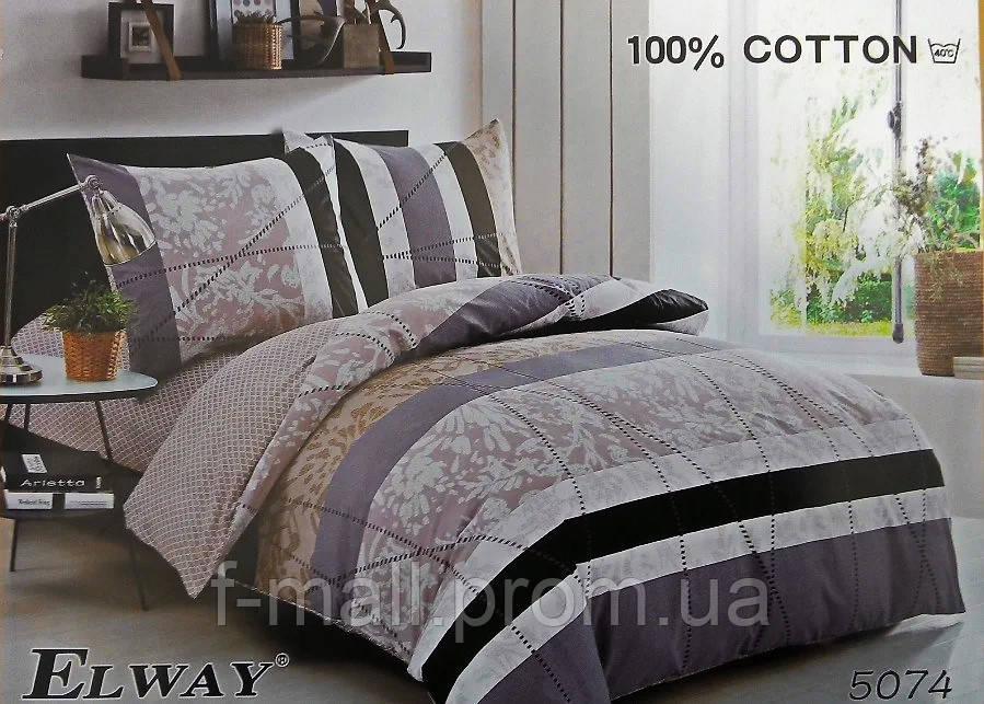 Комплект постельного белья ELWAY (Польша) Сатин евро (5074)