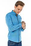 Рубашка мужская G 1276004 в клетку синяя, фото 3