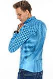 Рубашка мужская G 1276004 в клетку синяя, фото 4