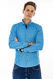 Рубашка мужская G 1276004 в клетку синяя, фото 5
