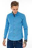 Рубашка мужская G 1276004 в клетку синяя, фото 6