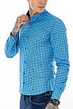 Рубашка мужская G 1276004 в клетку синяя, фото 7