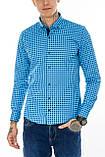 Рубашка мужская G 1276004 в клетку синяя, фото 2