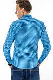 Рубашка мужская G 1276004 в клетку синяя, фото 8