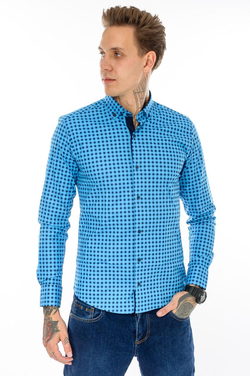 Рубашка мужская G 1276004 в клетку синяя