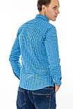 Рубашка мужская G 1276004 в клетку синяя, фото 9