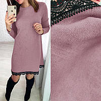 Ангоровое платье короткое нарядное А-силуэт розовое