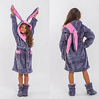Уютный детский домашний яркий неоновый махровый комплект: халат с ушками + сапожки для дома. Арт-4810, фото 1