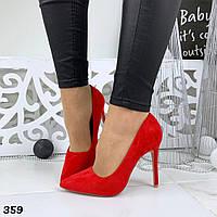 Женские замшевые туфли лодочки красные  BaF