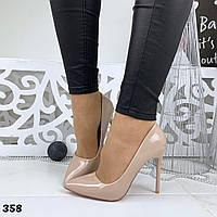 Женские лаковые   туфли-лодочки бежевые BaF