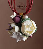 """Кулон с цветами ручной работы  из полимерной глины """"Пионовая элегантность"""", фото 1"""