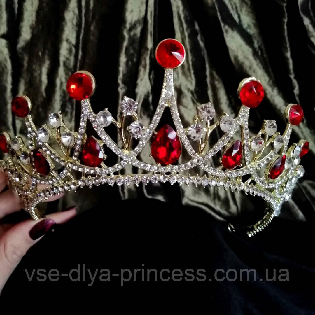 Корона, діадема, тіара під золото з червоними камінцями, висота 6,5 див.