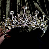 Корона, діадема, тіара під золото з червоними камінцями, висота 6,5 див., фото 3