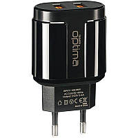 Зарядное устройство СЗУ 2USB Optima Turbo 2.1A+1A Black