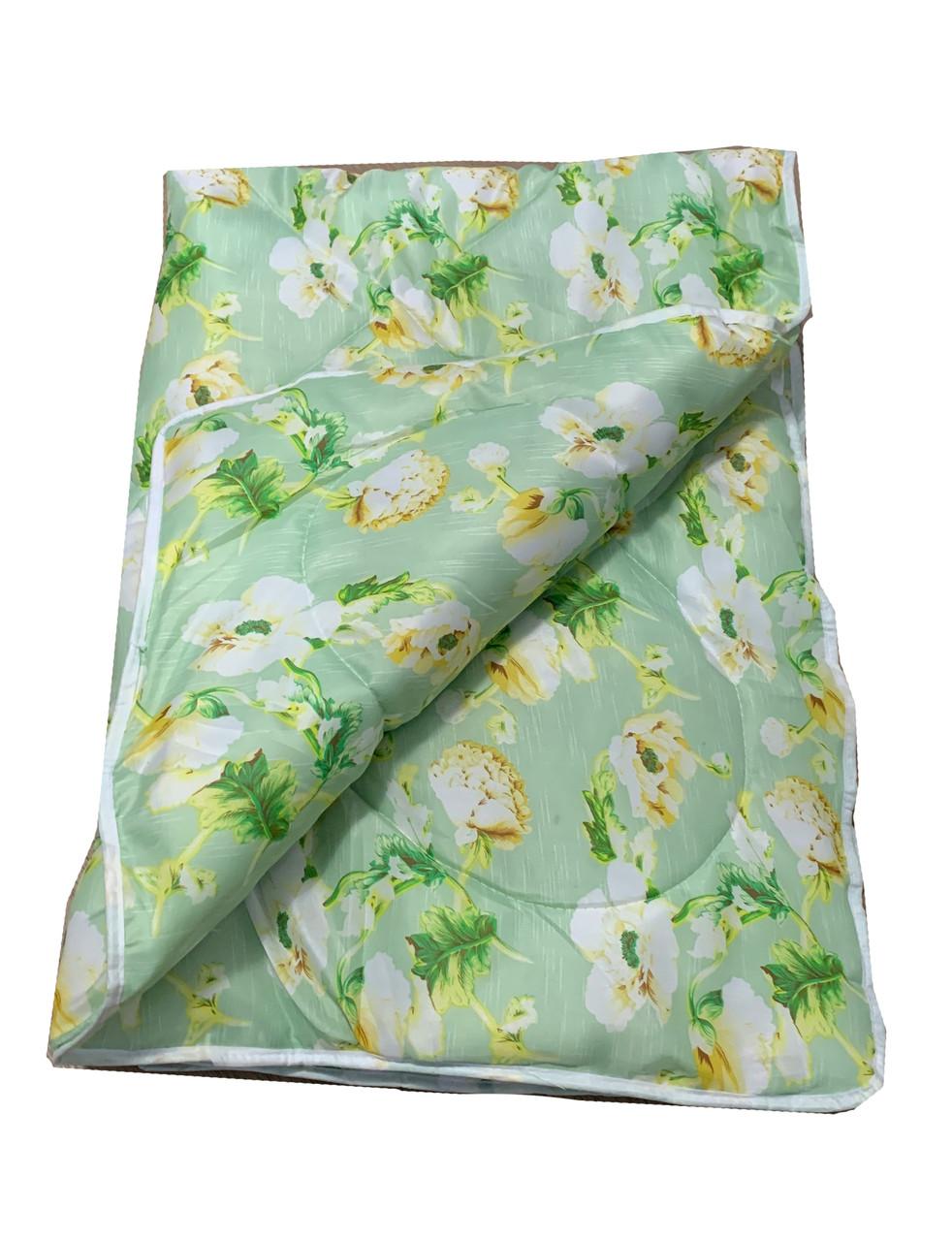 Одеяло салатовое полуторное, холлофайбер 150*220 см, Украина