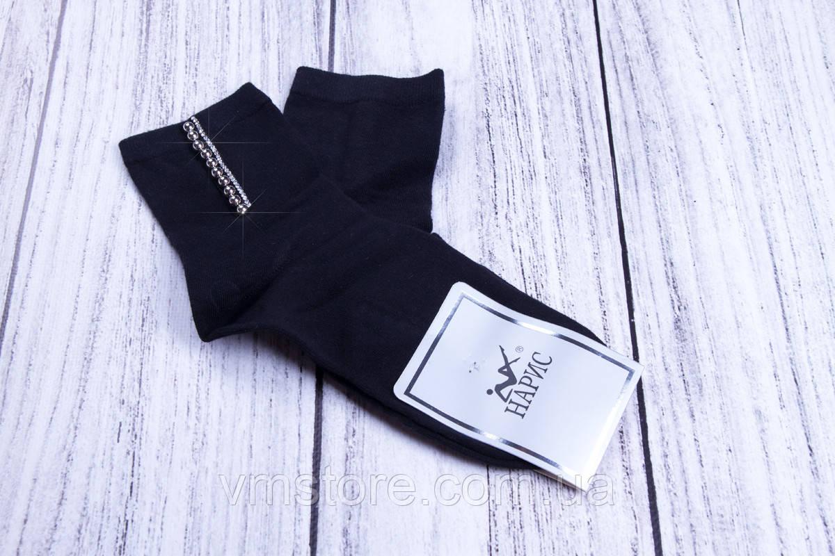 Носки женские с аппликацией из страз и бусин