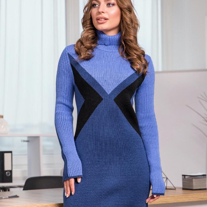 Теплое вязаное платье «Конвертик»