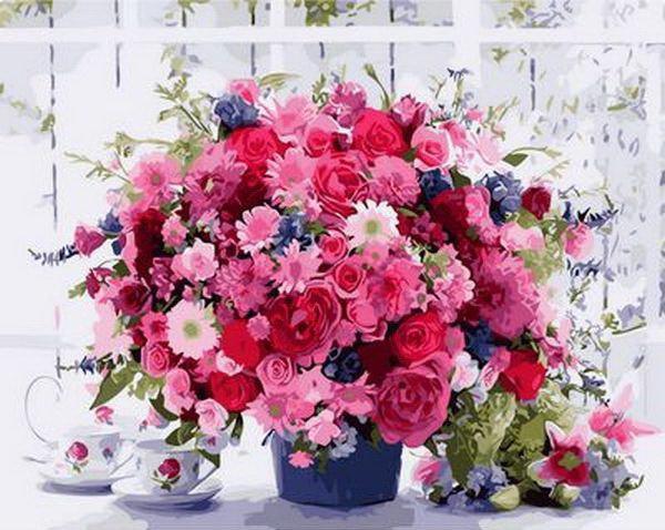 Картина по номерам на холсте 65х50см Розовые хризантемы