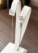 Сережки-протяжки камінчик ланцюжок срібло Хлоя