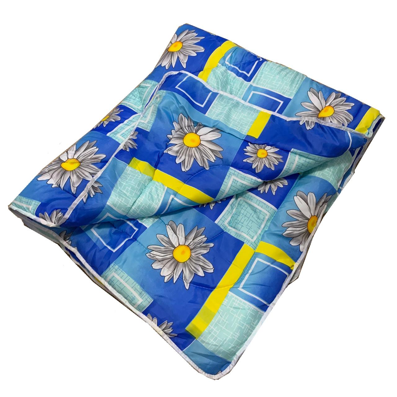 Одеяло синее полуторное, холлофайбер 150*220 см, Украина