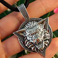 Серебряный кулон оберег Волк Велеса - Серебряный мужской амулет Волк