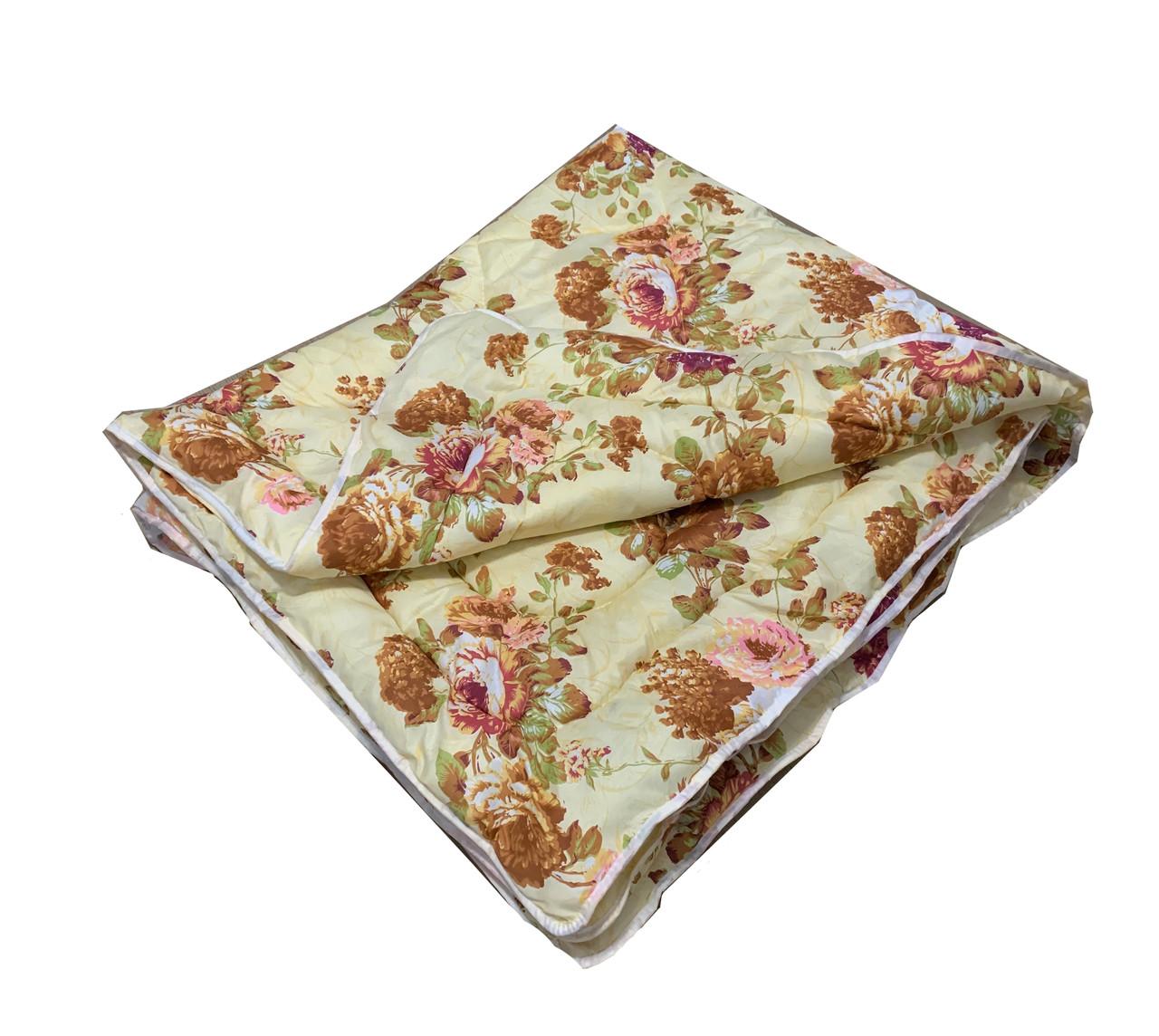 Одеяло бежевое полуторное, холлофайбер 150*220 см, Украина