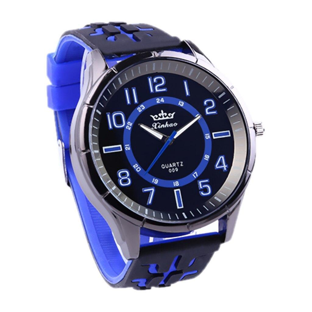 """Мужские наручные часы на силиконовом ремешке с большим циферблатом """"Xinhao"""" (синий)"""