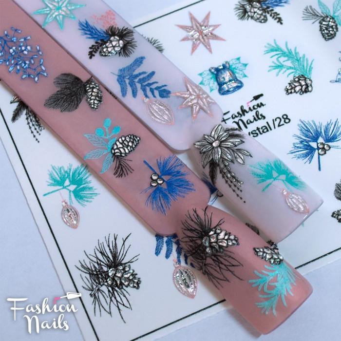 Слайдер -дизайн Новий рік,Іграшки,Шишки - Новорічні наклейки для нігтів 3DCrystal/28