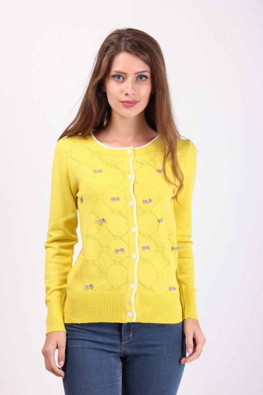 Кофта женская LadiesFashion 1233 с пуговицами (Желтый M/L)