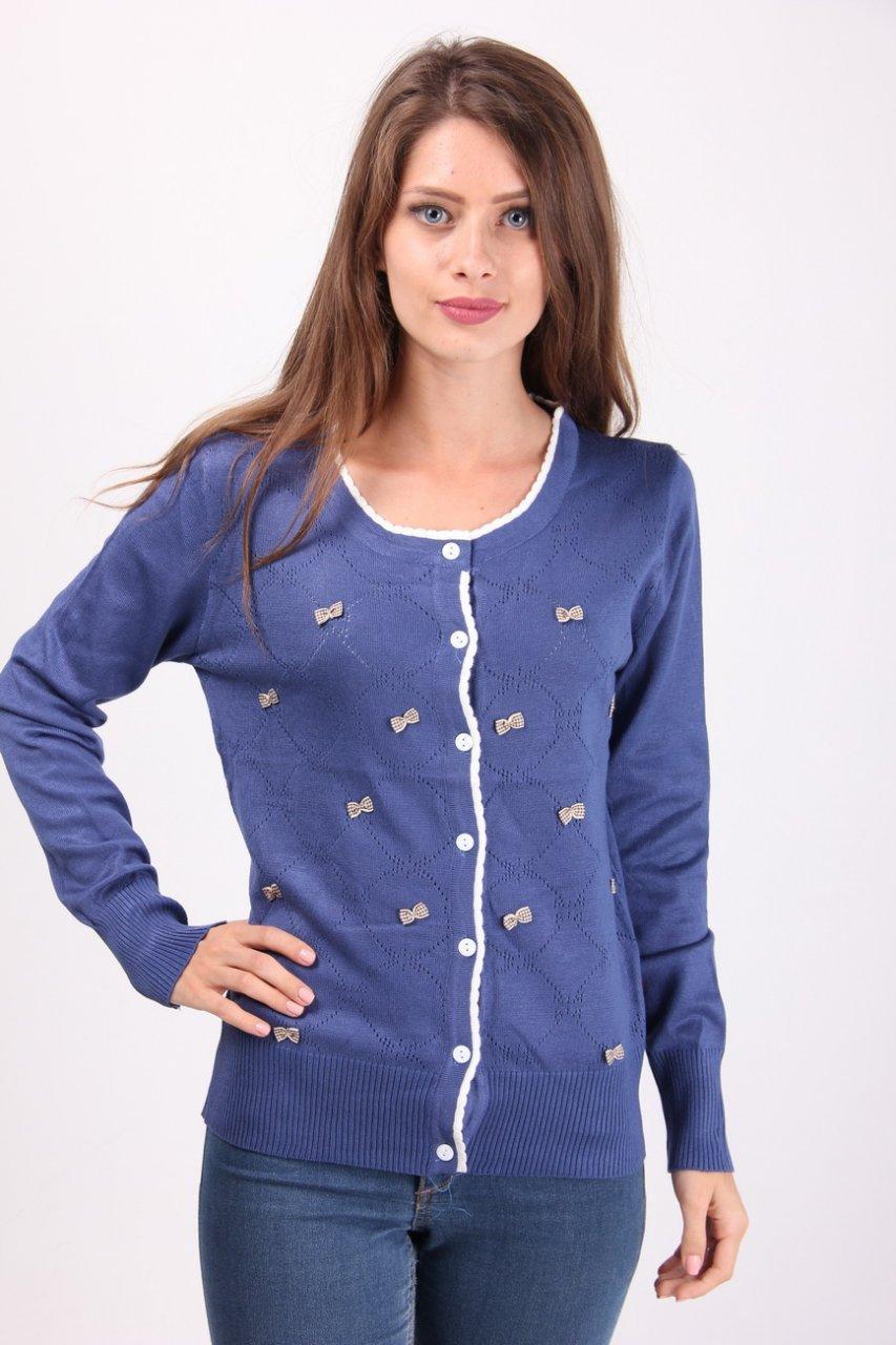 Кофта женская LadiesFashion 1233 с пуговицами (Синий M/L)