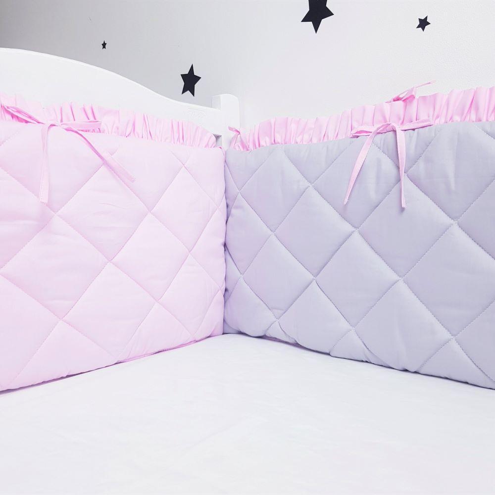Захист у ліжечко HappyLittleFox Рожевий/Сірий з оборкою