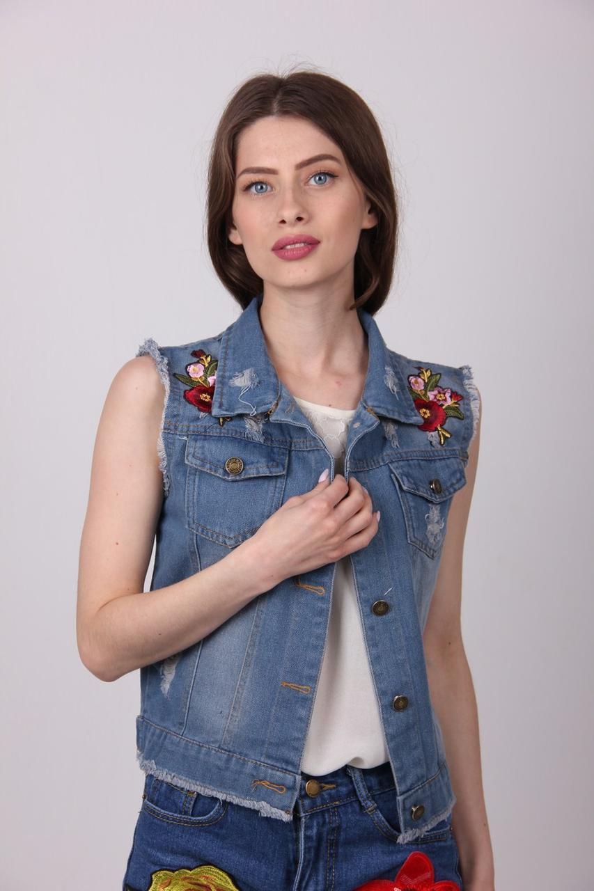 Жилетка женская ClassicFashion 811 джинс (Синий M)
