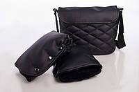 Комплект сумка и рукавицы на коляску DECOZA.MOMS эко кожа Черный DM-K-2, КОД: 126328