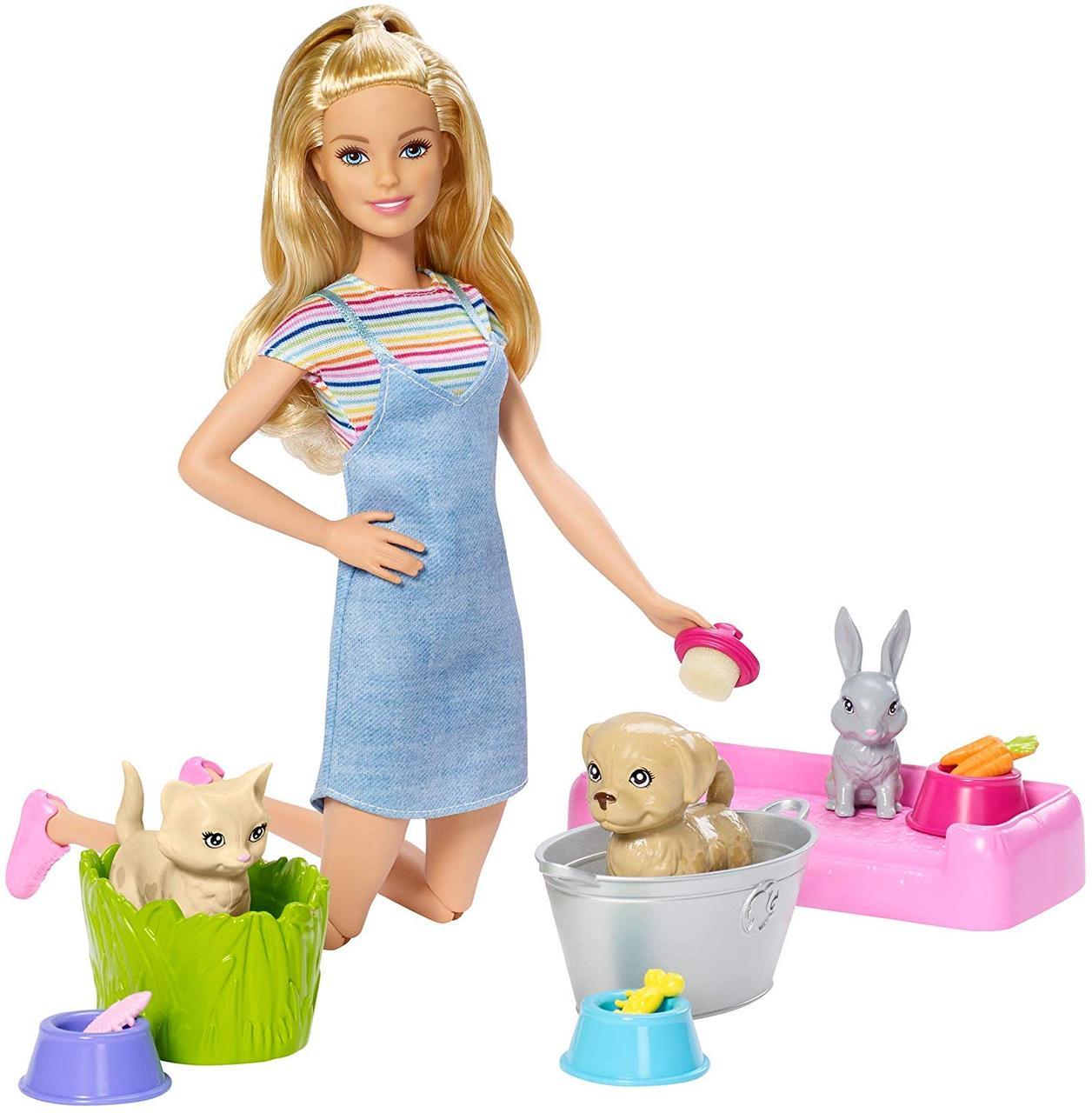Кукла Барби с питомцами Купай и играй barbie wash n play