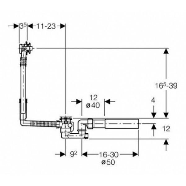 geberit Cлив-перелив для ванны Geberit Uniflex 150.520.21.1