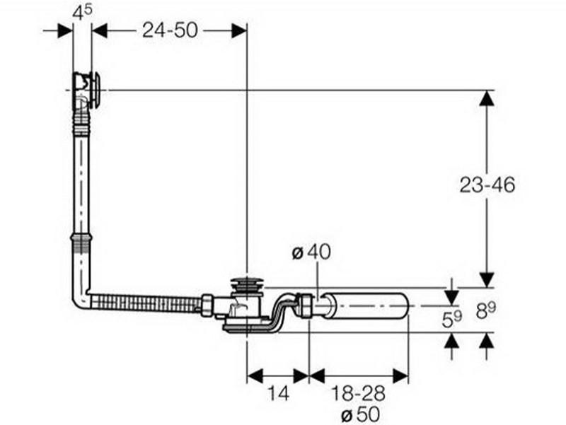 geberit Cлив-перелив для ванны Geberit Uniflex 150.710.21.1