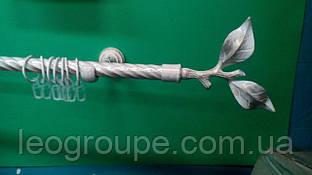 Карниз кованый одинарный 19 мм белое золото Лист розы -1,6м