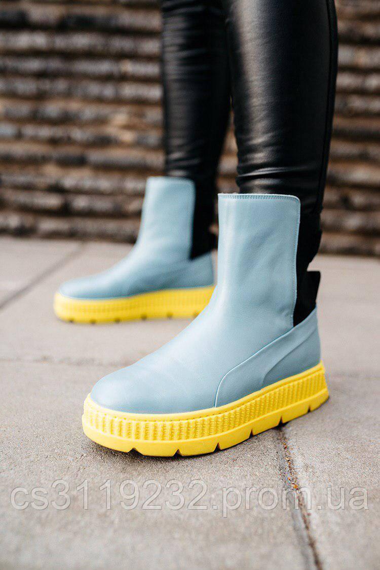 Женские ботинки Puma Fenty by Rihanna Chelsea Blue Limeade демисезонные (черный)