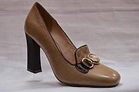 Коричневые  кожаные туфли Malrosti на каблуке