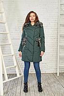 Зимний женский пуховик темно-зеленого цвета 27240 Black&Red