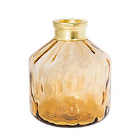 Желтая ваза из рифленого стекла 22 см 107043, фото 1