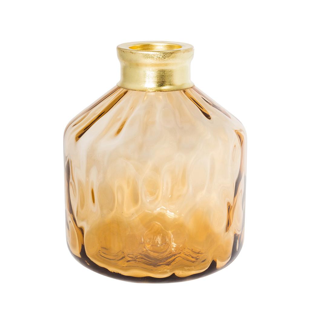 Желтая ваза из рифленого стекла 22 см 107043