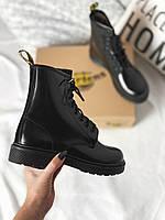 Женские кожаные зимние ботинки Dr Martens Black Mono (Др Мартинс черные)