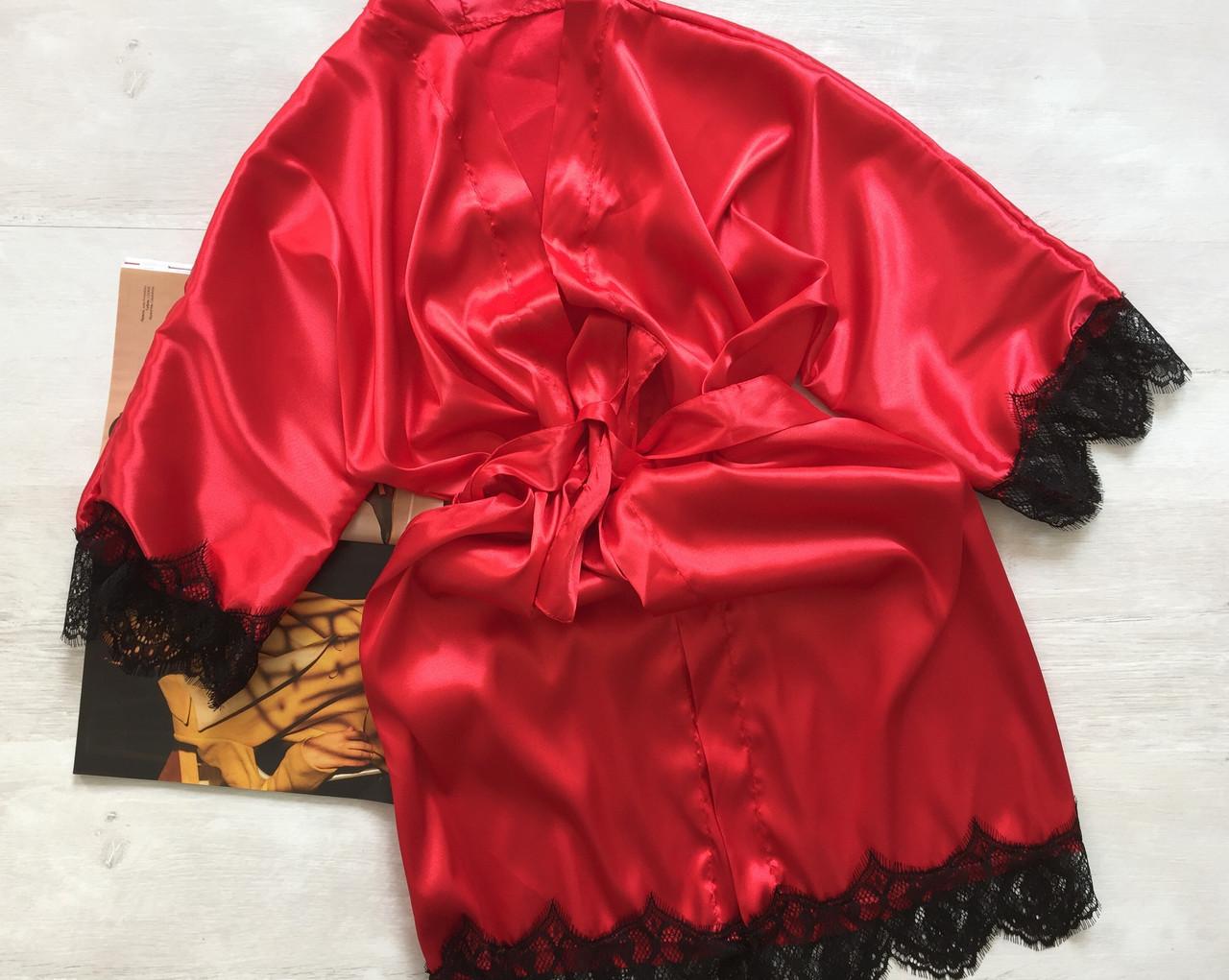 Женский кружевной атласный халат на запах красный 021