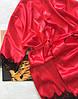 Халат женский атласный кружевной на запах красный, фото 8