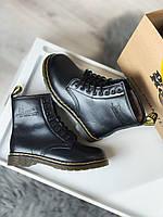 Женские кожаные зимние ботинки Dr Martens 1460 BLACK (Др Мартинс 1460 черные)