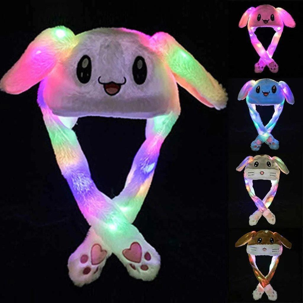Новогодняя шапка заяц со светящимися ушками которые двигаються, детская шапка, шапка зайца
